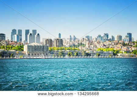 Istanbul View from the Bosphorus Strait in the afternoon. Turkey