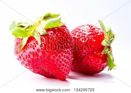 Strawberries berry isolated on white background Fresh strawberries were placed on a white background