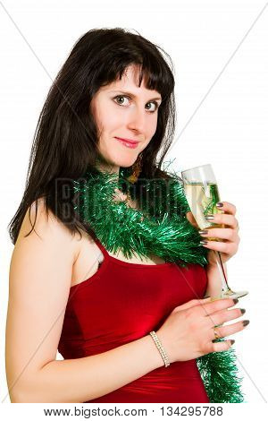 cheerful young woman holding glass. isolated on white background