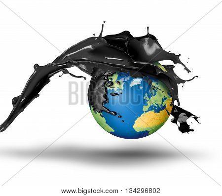Black oil bursting over planet Earth oil disaster concept