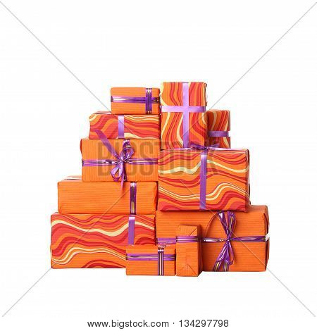 Gift boxes with bow isolated on white background