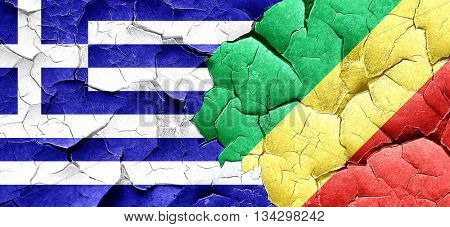 Greece flag with congo flag on a grunge cracked wall