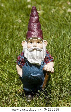 A farmer gnome standing in the grass