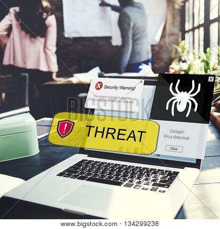 Computer Business Threat Caution Concept