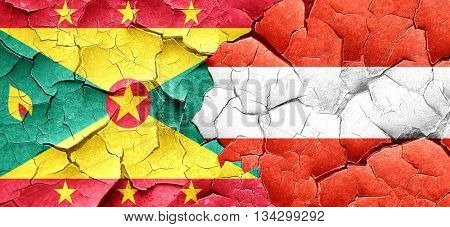Grenada flag with Austria flag on a grunge cracked wall