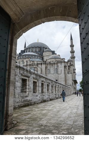 ISTANBUL TURKEY - JUNE 19 2015: The Suleymaniye Mosque is an Ottoman imperial mosque located on the Third Hill of Istanbul Turkey. It is the largest mosque in the city and one of the best-known sights of Istanbul
