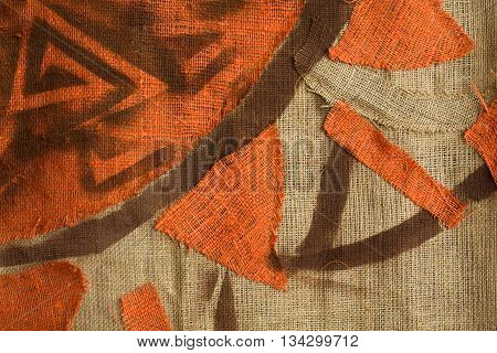 Ethnic background with sun pattern - primitive art
