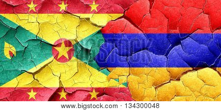Grenada flag with Armenia flag on a grunge cracked wall