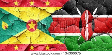 Grenada flag with Kenya flag on a grunge cracked wall