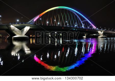 Lowry Avenue Bridge in Minneapolis lit in Rainbow Colors in Honor of Orlando Victims
