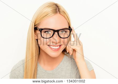 Portrait Of Beautiful Woman With Beaming Smile Wearing Glasses