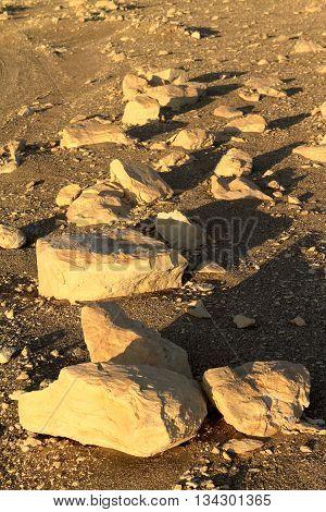 stones in the the Sahara Desert of egypt