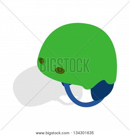 Green ski helmet icon in isometric 3d style on a white background