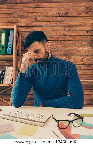 Overworked Young Sad Businessman Thinking About Hard Task