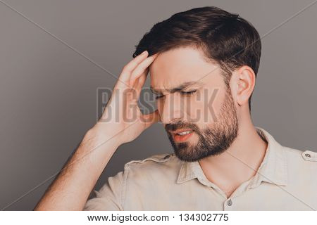Handsome Sick Man Touching Head And Feeling Pain