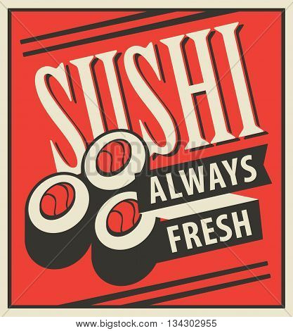Japanese sushi food with chopsticks in a retro style