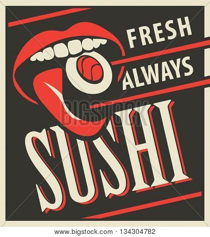 Japanese food with human mouth eating sushi in a retro style