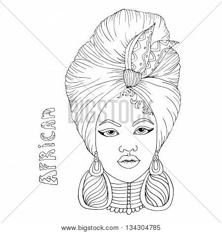 Vector drawing portrait of a beautiful African girl in a scarf drape with a knot on her head. Hand drawn inscription African. Isolated on a white background