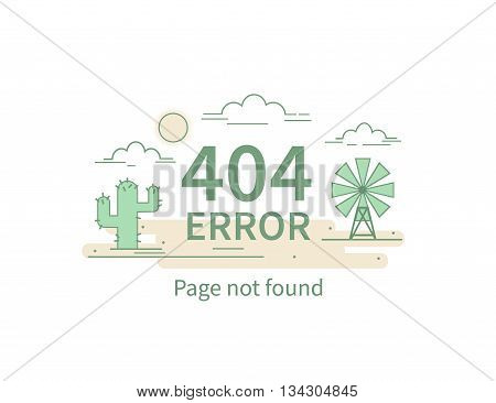 Design 404 error. Vector concept illustration for page 404. Page is lost and not found message. Template for web page with 404 error. Modern line design.