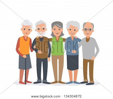 Group of elderly people stand together. Vector people illustration isolated on white background.