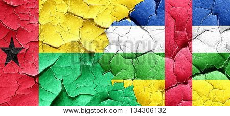 Guinea bissau flag with Central African Republic flag on a grung