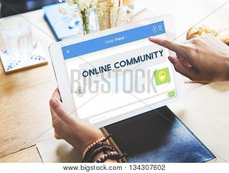 Online Community Friends Communication Connection Concept