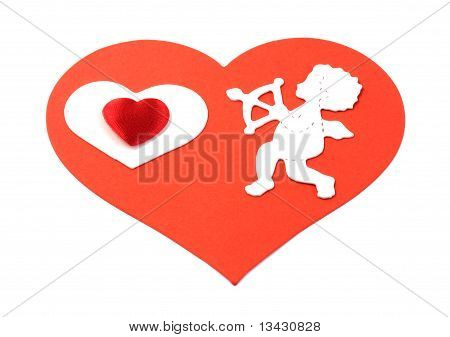 Cupid With Hearts On Large Red Heart