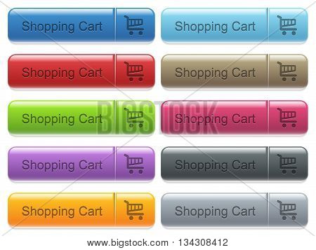 Set of shopping cart glossy color captioned menu buttons with engraved icons