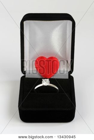 Diamond Engagement Ring With Red Valentines Heart