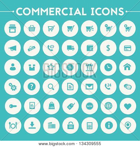 Trendy flat design big commercial icons set on round buttons