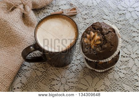 Cappucino And Two Chocolate Muffins