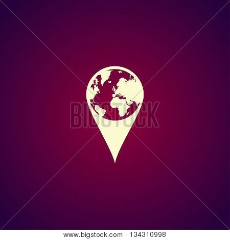 Pictograph Of Globe. Map Pointer