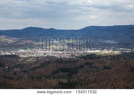 View Of Gaggenau In Baden-wurttemberg, Germany, Seen From Castle Ruin Ebersteinburg