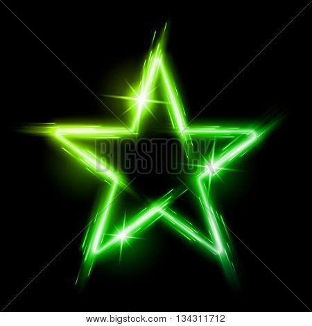 Neon glowing green star with reflection in space