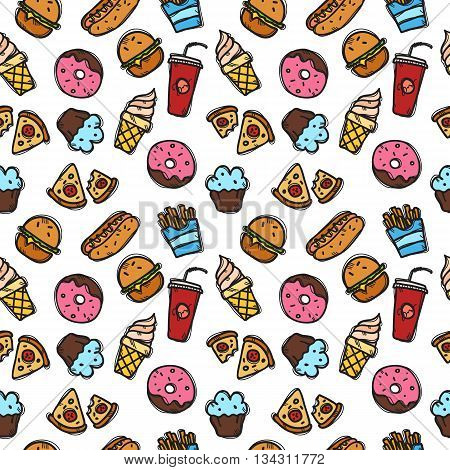 Vector seamless pattern with fast food objects. Junk food and sweets seamless background in trendy doodle style.