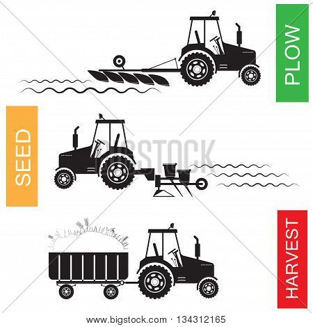 Crop growing and harvesting of agriculture - vector illustration