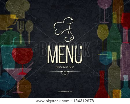Restaurant menu design. Vector menu brochure template for cafe, coffee house, restaurant, bar. Food and drinks logotype symbol design. Crumpled vintage paper background