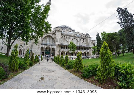 ISTANBUL TURKEY - JUNE 19 2015: The Suleymaniye Mosque is an Ottoman imperial mosque located in Istanbul Turkey. It is the largest mosque in the city and one of the best-known sights of Istanbul