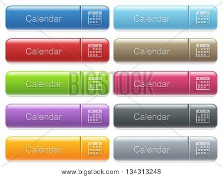 Set of calendar glossy color captioned menu buttons with embossed icons