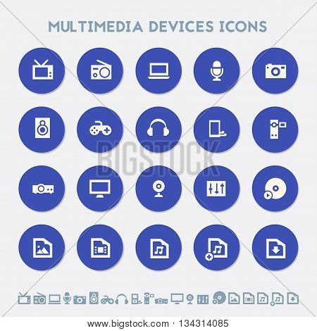 Modern flat design material icons collection of multimedia devices