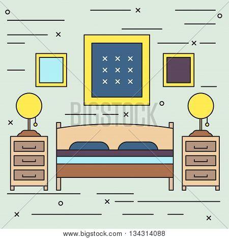 Bed room interior, bed line art vector illustration, hotel room, sleeping place. flat,