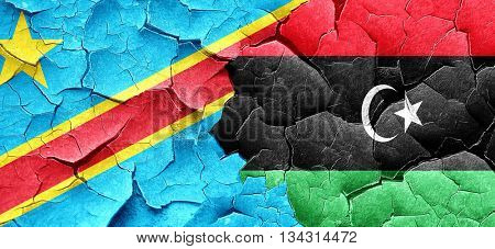 Democratic republic of the congo flag with Libya flag on a grung
