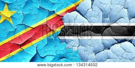 Democratic republic of the congo flag with Botswana flag on a gr