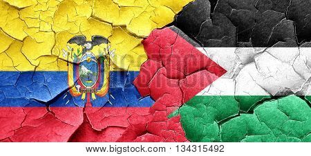 Ecuador flag with Palestine flag on a grunge cracked wall