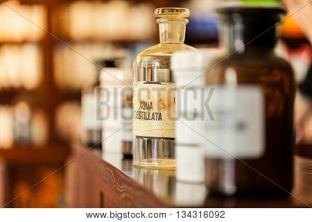 Old vintage medicine bottles, medicine concept.