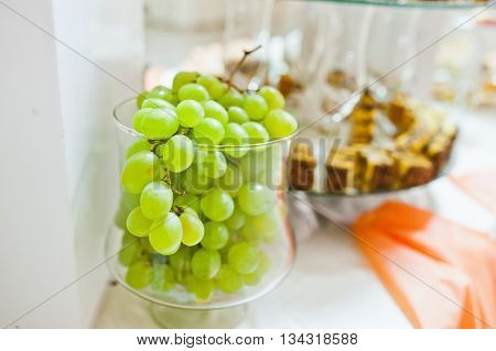 White Grapes At Glass On Wedding Reception