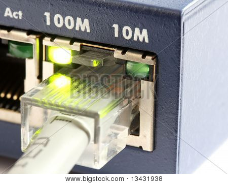 Network Switch With Grey Ethernet Cable