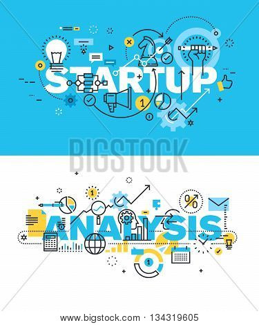 Set of modern vector illustration concepts of words startup and analysis. Thin line flat design banners for website and mobile website, easy to use and highly customizable.