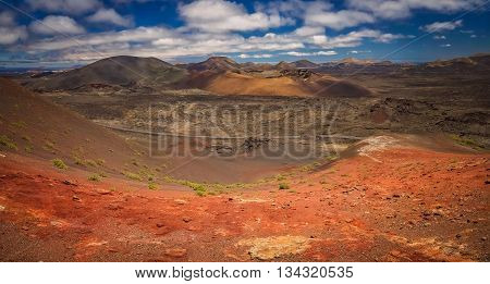 Panoramic view of the Timanfaya National Park ( also called The Montanas del Fuego or Mountains of Fire ) in Lanzarote, Canary Islands, Spain