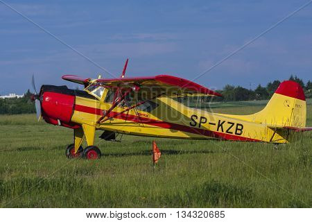 Bialystok Poland June 4 2016: Old sports plane at the airport flying club